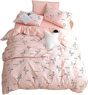 BuLuTu Flamingo Queen Duvet Cover Pink Cotton for Teen Girls Women,Cute 3 Pieces Kids Bedding Sets Zipper Closure with Corner Ties,Queen Duvet Cover Set,Lightweight,Durable,No Comforter