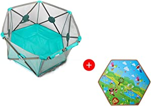 Baby playpen-SYY Material Safety Children s nbsp  Fence Easy Install And Washable Stable Structure Available Variety Styles  Color Green  Style