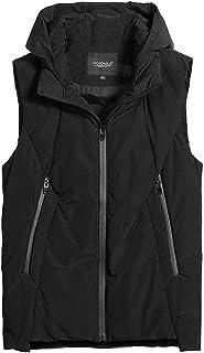 タンクトップ ベストベスト冬の厚手のメンズカップルジャケットのベストショートコットンベストのジャケット高い襟のフード付きダウンベストベストノースリーブベストスリム軽量コート (Color : Black, Size : XXXL)