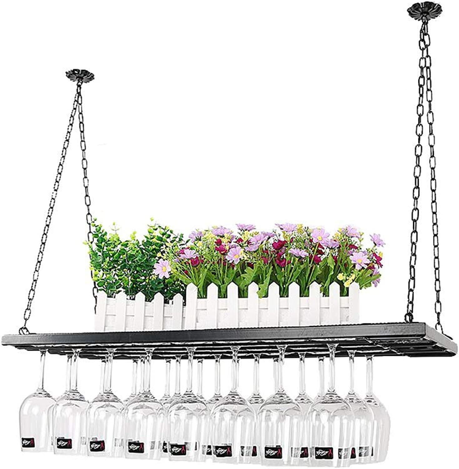 XUANLAN European Bar Wrought Iron Hanging Glass Wine Rack Upside Down Goblet Cup Holder Wall Hanging Wine Rack (Size   60cm)