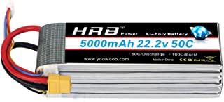 HRB 6S 22.2V 5000mAh 50C Lipo Battery with XT60 Plug for Mikado LOGO500, Align T-REX550 600 GAUI X5 Outrage 550 Hirobo SDX Multirotors EDF Jets 600 700 Size Helicopters