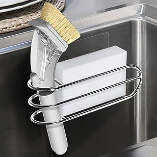 Orimade 2-in-1 Adhesive Sink Caddy Sponge & Brush Holder Scrub Brush Storage Kitchen Sink Organizer Stainless Steel