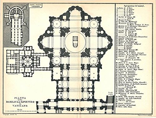 St. Peters basilica floor plan 1886 detailed antique Italy map
