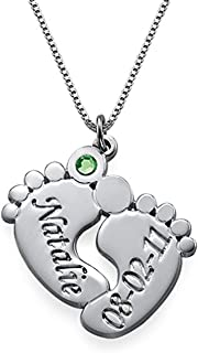Mother Jewelry - Engraved Baby Feet Pendant Necklace with Personalized Birthstone - with Any Name