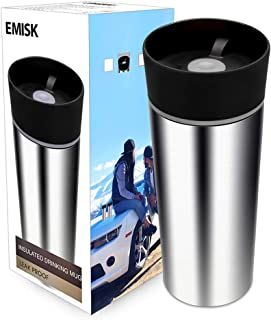 Travel Coffee Mug with 360° Drinking Lid, EMISK Leak-Proof Vacuum Insulated Tumbler, Double Walls Stainless Steel Thermal Travel Cup for Hot and Ice Cold Water Beverages