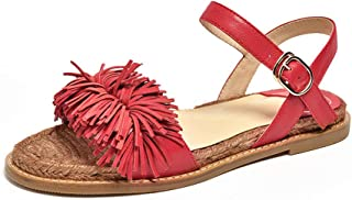 Honeystore Women's Tassels Flats Fringed Leather Strap Flats Sandals Shoes for Beach