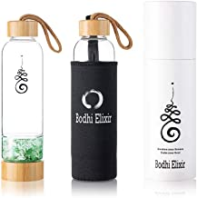 Bodhi Elixir Crystal Water Bottle - Crystal Healing Water Bottle, Quartz Crystal Water Bottle, Includes Gemstones and Prot...