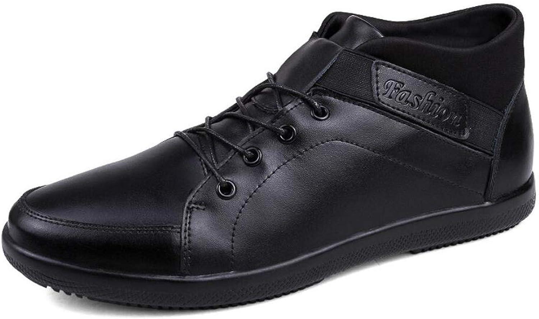 RYRYRB Herren Lederschuhe hohe Rhre sowie warme Samt Baumwolle Stiefel Mode groe Herren Freizeitschuhe Einfache und Bequeme Freizeitschuhe (Farbe   schwarz, Größe   44 EU)