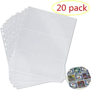 LinaLife 20 Pack 9-Pocket 11 Hole Series Page Protector for Standard Size Cards Trading Game Card Storage Wallets Sleeves Album Pages Collection 180 Pockets Set for Skylanders, Pokemon, Top Trumps