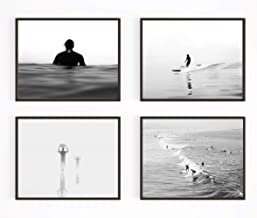Black and White Surfing Photography Photographic Prints, Set of 4, Unframed, Surf surfboard Wall Art Decor Poster Sign, 8x10 Inches