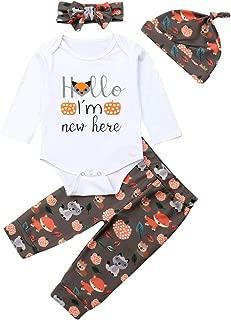 Newborn Baby Boy Girl Halloween Costumes Long Sleeve Hello I´m New Here Rompers Pumpkin Bodysuit Pants Headband Hat Outfit