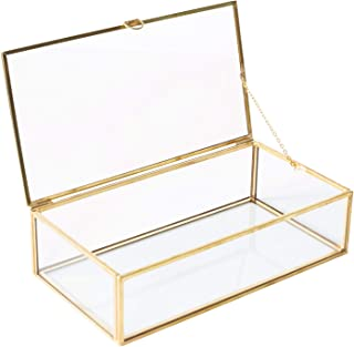 Utopz Golden Glass Jewelry Keepsake Box Home Decor Display Vintage Glass Jewelry Organizer, Decorative Accent, Brass & Clear Glass, 8x4.5x2in