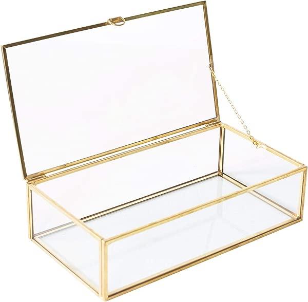Utopz Golden Glass Jewelry Keepsake Box Home Decor Display Vintage Glass Jewelry Organizer Decorative Accent Brass Clear Glass 8x4 5x2in
