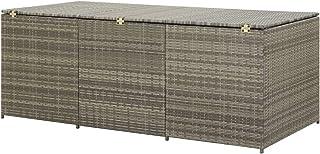 Festnight Tuinbox, tuinopbergbox, outdoor opbergkist, kussenbox voor tuin, polyrotan, 180 x 90 x 75 cm, grijs