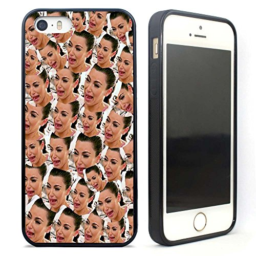 VONDER Kim Kardashian Crying Black Rubber Case Cover for iPhone 5 5S SE