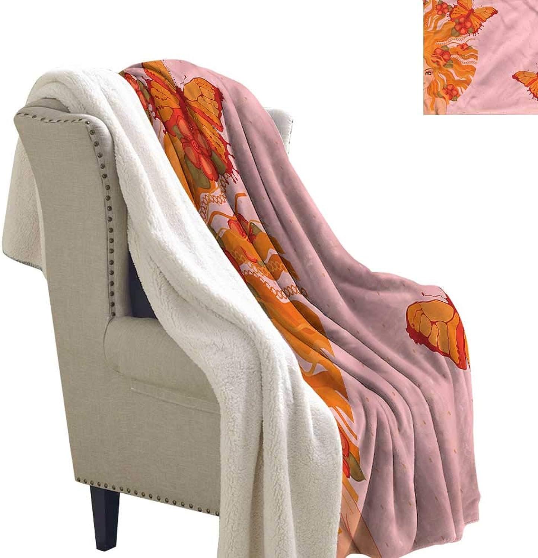 Jaydevn Abstract Berber Fleece Blanket Girl Butterfly and Dots Microfiber Blanket 60x32 Inch