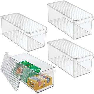 mDesign rangement bureau en plastique – bac de rangement avec couvercle et poignée pour surligneurs, etc. – boite empilabl...