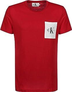 Calvin Klein Jeans Men's Monogram Pocket Slim Tee, Barbados Cherry/Bright White, M