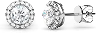 925 Sterling Silver Round CZ Cubic Zirconia Halo Earrings