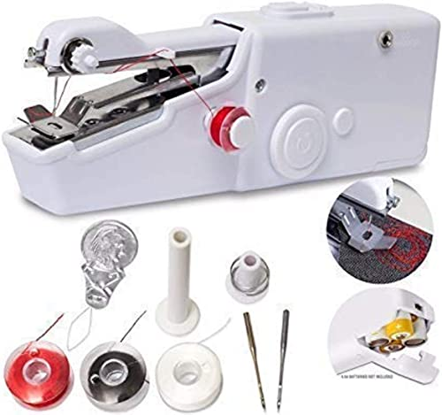 PrimeZone Handheld Sewing Machine Mini Portable Cordless Sewing Machine Quick Handy Electric Repairing Stitch Tool for Fabric Clothing Kids Cloth Home Travel Use 1pc
