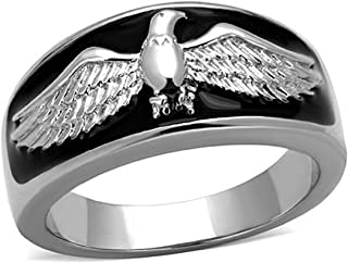 Drop of Silver Men's Black & Stainless Steel Flying US American Eagle Biker Ring Band, Size 11