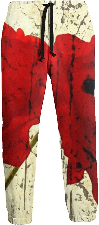 Red Poppy Flower Art Pattern Men's 5% Arlington Mall OFF Bott Sweatpants Close Jogger