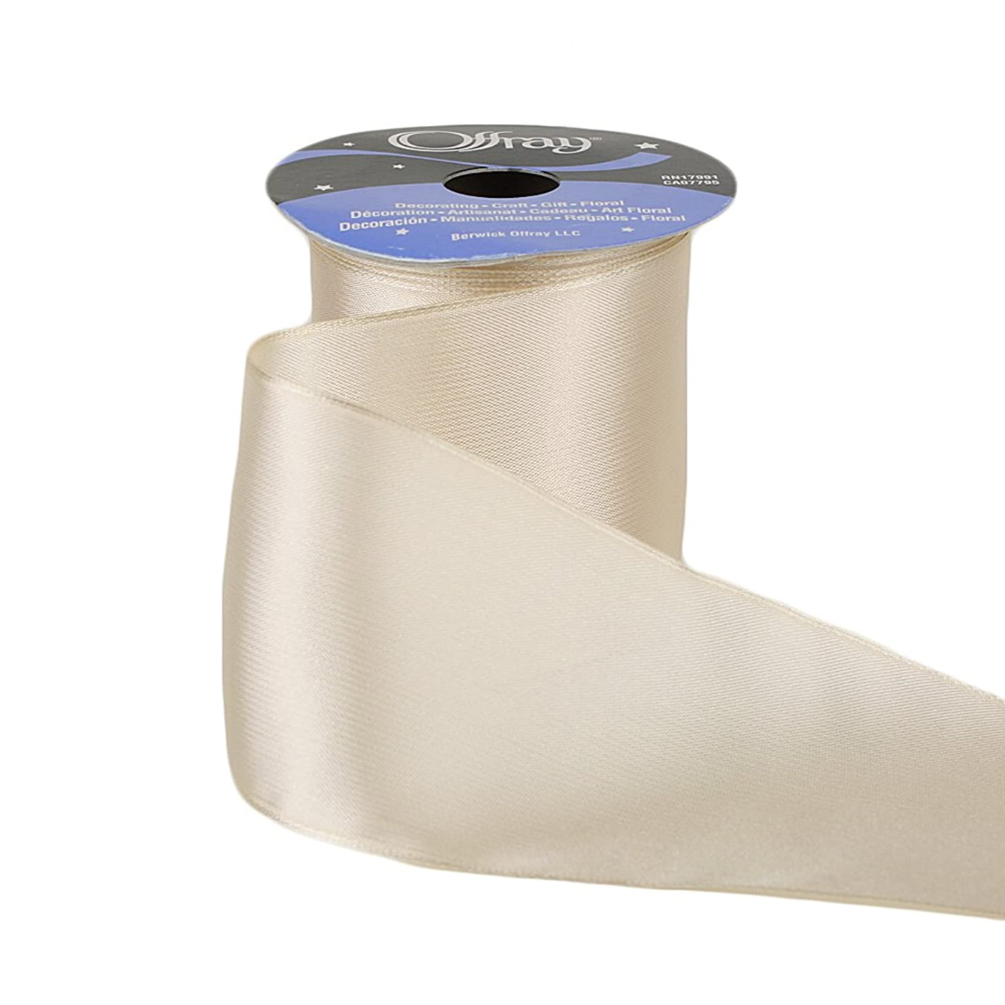 Offray Wired Edge Prelude Craft Ribbon, 2-1/2-Inch Wide by 10-Yard Spool, Ivory
