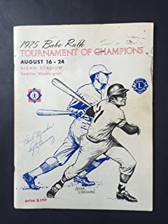 Babe Ruth 1975 Tournament Baseball Program Autographed Signed Lefty Gomez HOF Auto - Certified Authentic