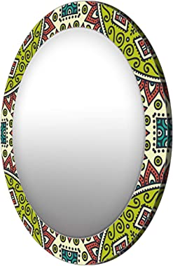999Store Printed Green and red Floral Pattern Round Mirror (MDF_17X17 Inch_Multi)