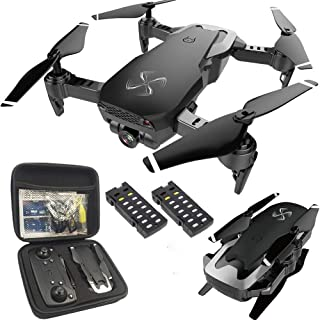 Drone-Clone Xperts Drone X Pro AIR 1080P HD Dual Camera Quadcopter Follow Me Mode Gesture Control FPV WiFi Real-Time Transmission Protective Carrying Case and 2pcs Batteries Included (Black)