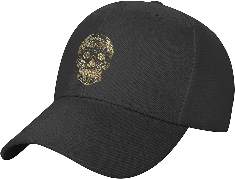 Skull and Mountain Hat Black Baseball Cap, Adjustable Trucker Hat, Sun Hats Dad Hat Golf Hats for Women Men