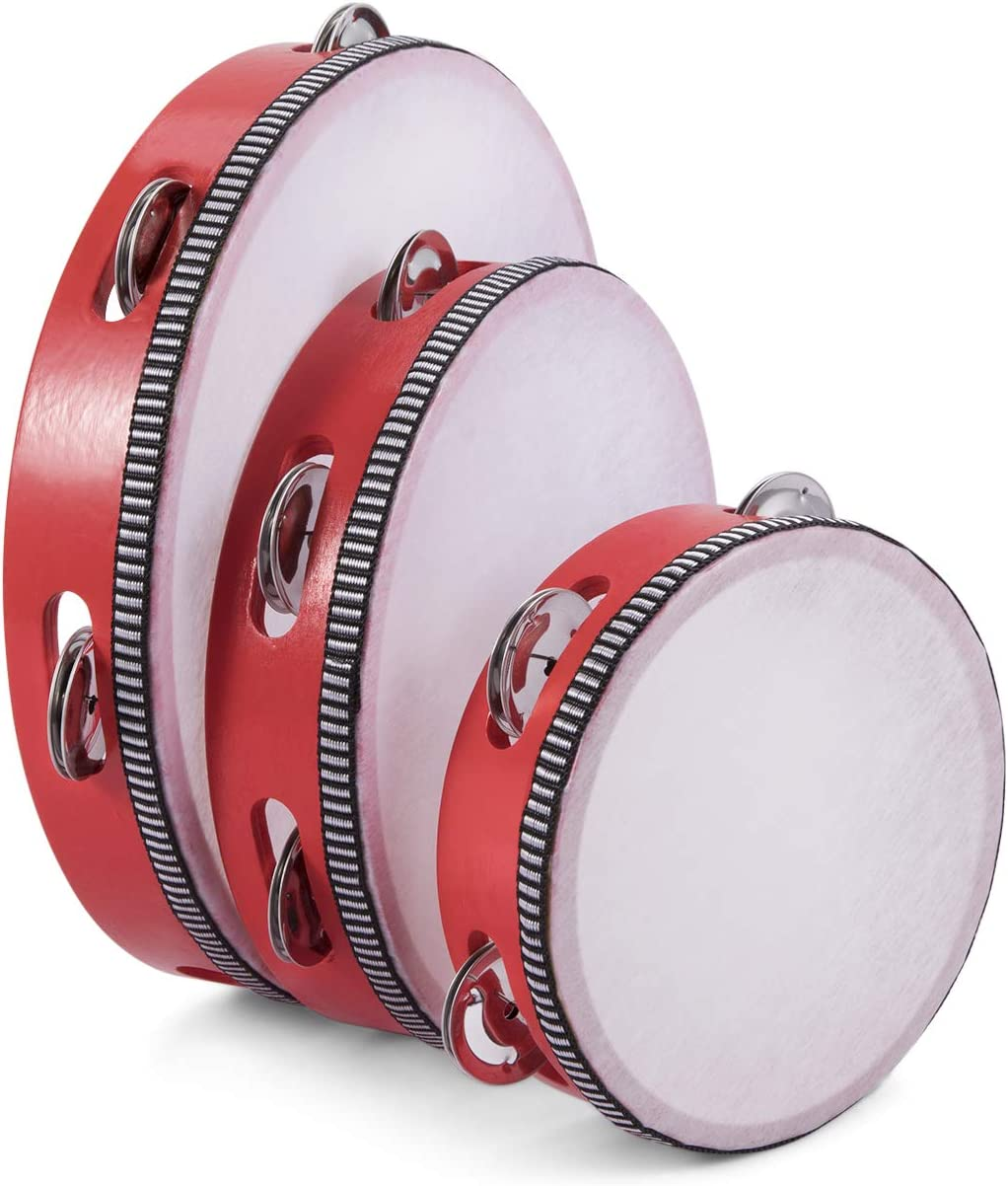 Flexzion 3 Pack Large-scale sale Wood Handheld Tambourines - 6 Limited price sale 10 Inch 8 + Set