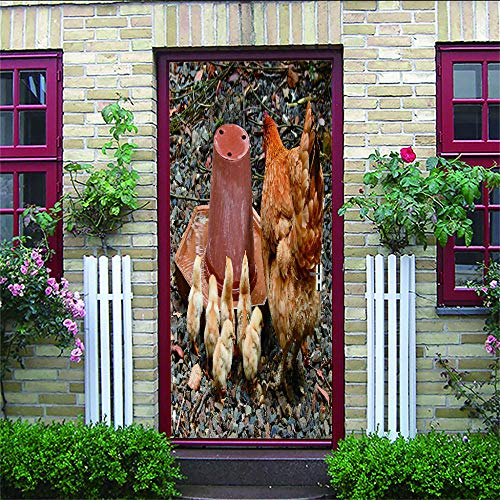 Pegatinas De Puerta 3D Gallina Y Pollitos Vinilos Puerta Pegatina Pared Murales Para Cocina Sala De Baño Decorativos De Hogar Arte Moderno95X215Cm