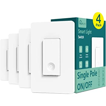 Smart Switch 4 Pack, Treatlife 2.4Ghz Smart Light Switch WiFi Light Switch Single-Pole, Neutral Wire Required, Works with Alexa and Google Assistant, Schedule, Remote Control, FCC/ETL Listed
