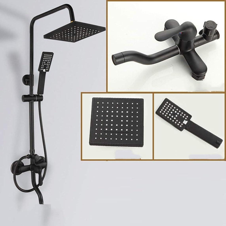 職人平日紳士シャワーヘッド 浴室のシャワーシステム黒すべての銅のシャワーセット8