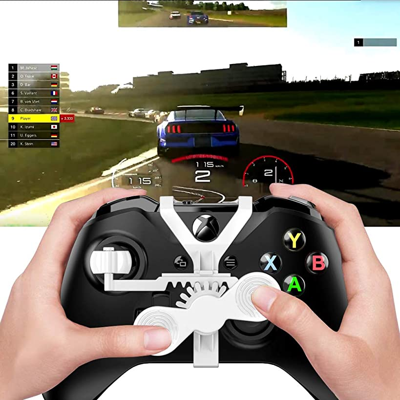 Xbox One Mini Steering Wheel, Xbox One Controller Add-on Replacement Accessories for All Xbox Racing Game (White)