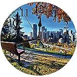 Yaoni Silencioso Wall Clock Decoración de hogar de Reloj de Redondo,Ciudad, Banco del Parque con Vistas al Horizonte de Calgary, Alberta, Durante el otoño Tran,para Hogar, Sala de Estar, el Aula