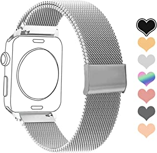 Letuboner Compatible for Apple Watch Band 38mm 40mm 42mm 44mm,Wristband Mesh Loop with Adjustable Magnetic Closure Replacement Bands for iWatch Series 1/2/3/4 (Silver, 38mm/40mm)