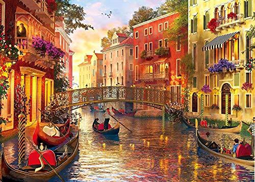 HUADADA Puzzle 1000 Teile Venice Landschaft, Klassische Puzzles 1000 Teile ,Farbenfrohes Puzzle für Erwachsene und Kinder ab 14 Jahren,Geschicklichkeitsspiel für die ganze Familie 70*50 cm