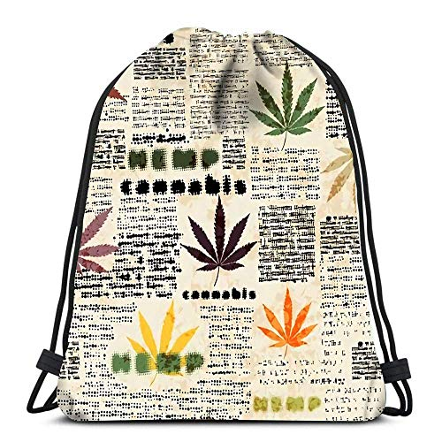 Hdadwy Drawstring Backpack Sport Bags Cinch Tote Bags Imitation of Newspaper The Hemp Leaves for Traveling and Storage