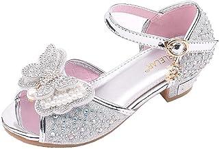 WINJIN Sandales Talons Fille Sandale Princesse Chaussures Princess Pearl Belle avec Pailliettes Nœud à Papillon Chaussure ...