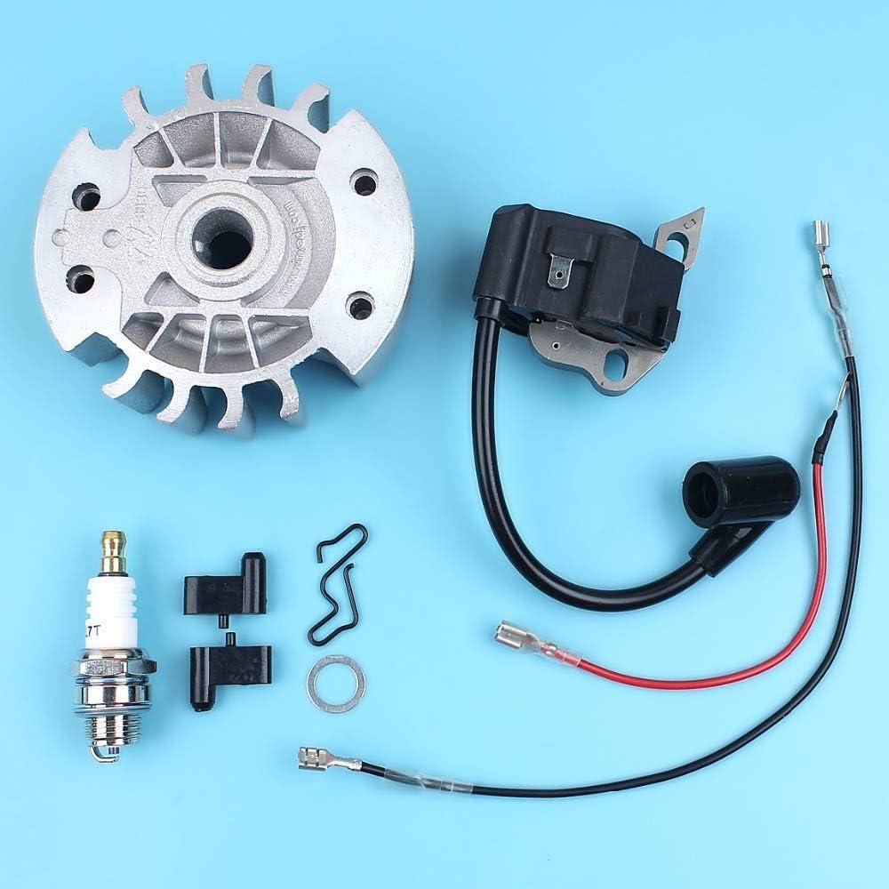 Haoyueda Flywheel bobina de encendido Pawl Kit Compatible con STIHL 017 018 MS170 MS180 MS 170 180 motosierra w/Bujía de reemplazo de piezas de repuesto
