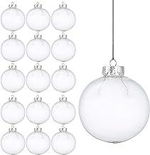 15 Bolas Navideñas Transparentes Decorativas - Adorno para Árbol de Navidad – Adorno Colgante Personalizable – Accesorio de Decoración para Fiesta de Celebración - Ornamento Plástico Elegante