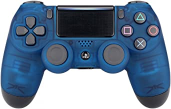 eXtremeRate Foggy Clear Blue Faceplate Cover, Soft Touch Front Housing Shell Case, Comfortable Replacement Kit for PS4 Slim PS4 Pro JDM-040 JDM-050 JDM-055 Controller