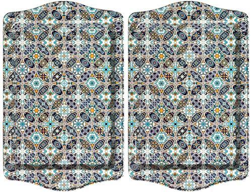 BOHORIA® Bandeja para servir de diseño premium, bandejas decorativas para cristal, tazas, cuencos en su mesa de madera, cristal o piedra (juego de 2)