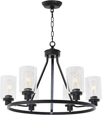 MELUCEE 6-Light Chandeliers for Dining Room, Farmhouse Lighting Black Light Fixtures Ceiling Hanging Industrial Pendant Light