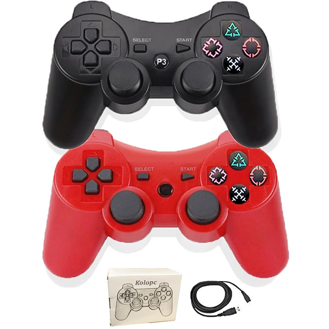 Kolopc Wireless Bluetooth Controller For PS3 Double Shock - Bundled with USB charge cord … (Red and Black)