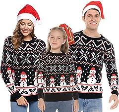 Aibrou Jersey Suéter de Navidad Familia,Pullover Monigote de Nieve Jerséis de Punto Cómodo y Cálido Mujer Hombre y Niños