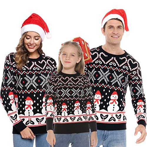 Aibrou Maglione Natale Famiglia, Xmas Pullover in Maglieria per Uomo Donna e Bambini, Felpa Famiglia Coordinati Natale per Inverno e Autunno