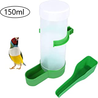 QX-Pet Supplies 1 Pack Automatic Bird Feeder Bowl Food Container Dispenser Hanging in Birds Cage for Parrots Budgie Cockat...